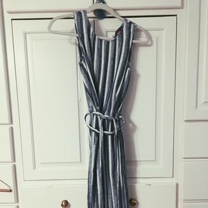 Blue and White Chambray Striped Jumpsuit